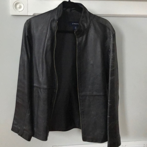 Destress genuine leather jacket